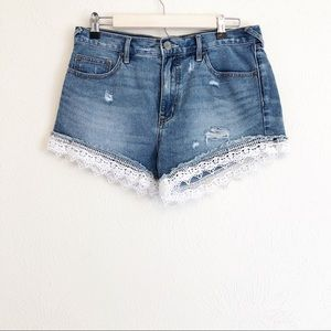 Free People Shorts - Free People Lace Trim Denim Shorts